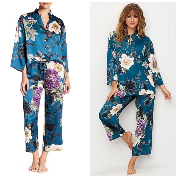 758dfc2a34 N by Natori Blue Floral Dynasty PJ Set Pajamas Pjs